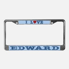 I Love Edward License Plate Frame