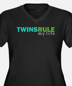TWINS RULE Women's Plus Size V-Neck Dark T-shirt