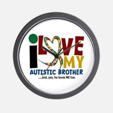 I Love My Autistic Brother 2 Wall Clock