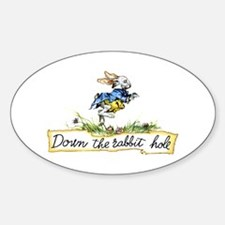 DOWN THE RABBIT HOLE Oval Decal