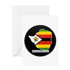 Flag Map of Zimbabwe Greeting Card