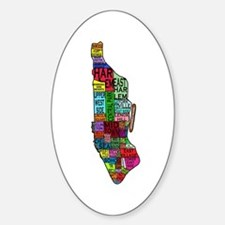 NYC Color Coded Map Oval Decal