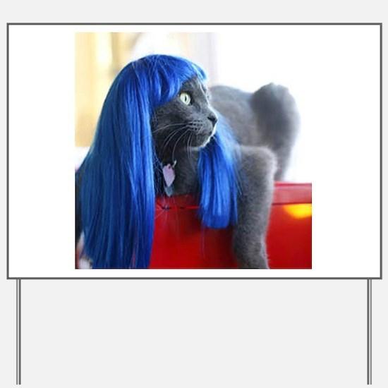 Wig Cat Yard Sign