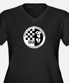 Unique Ska Women's Plus Size V-Neck Dark T-Shirt
