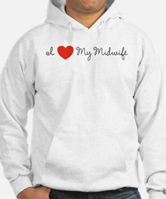 I heart my midwife-long ways Hoodie