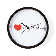 I heart my midwife-long ways Wall Clock