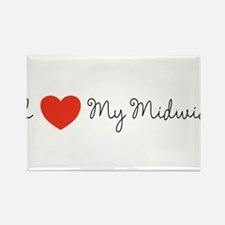I heart my midwife-long ways Rectangle Magnet (10