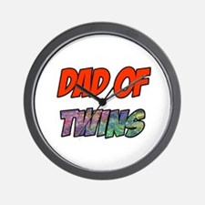 Dad Of Twins Wall Clock