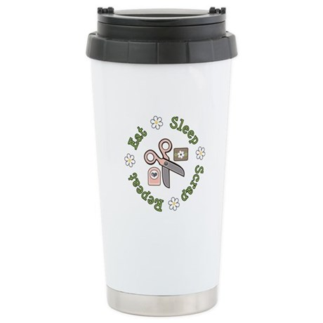Eat Sleep Scrap Repeat Stainless Steel Travel Mug