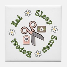 Eat Sleep Scrap Repeat Tile Coaster