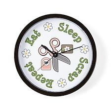 Eat Sleep Scrap Repeat Wall Clock