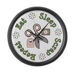 Eat Sleep Scrap Repeat Large Wall Clock