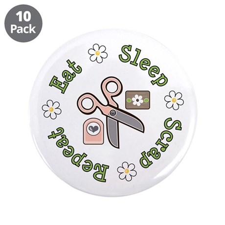 """Eat Sleep Scrap Repeat 3.5"""" Button (10 pack)"""
