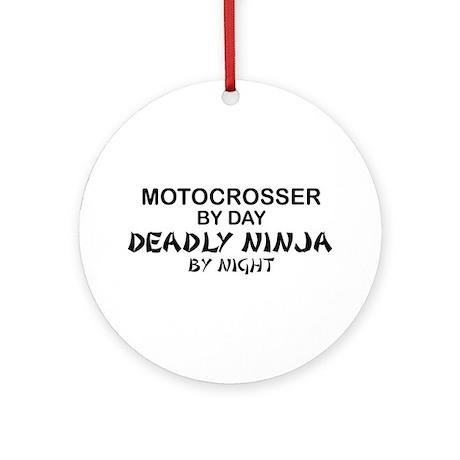 Motocrosser Deadly Ninja Ornament (Round)