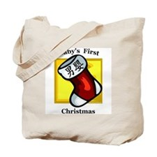 Baby's First Christmas (male stocking) Tote Bag