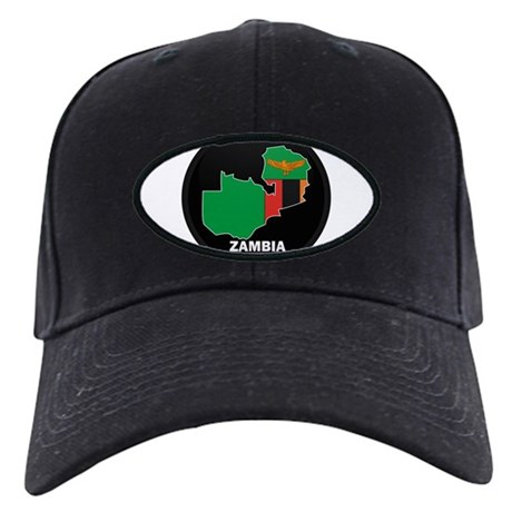 Flag Map of Zambia Black Cap