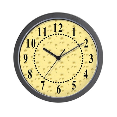 Light Yellow Cheese Big Numbers Wall Clock By Symmetricarts