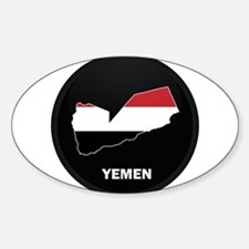 Flag Map of yemen Oval Decal
