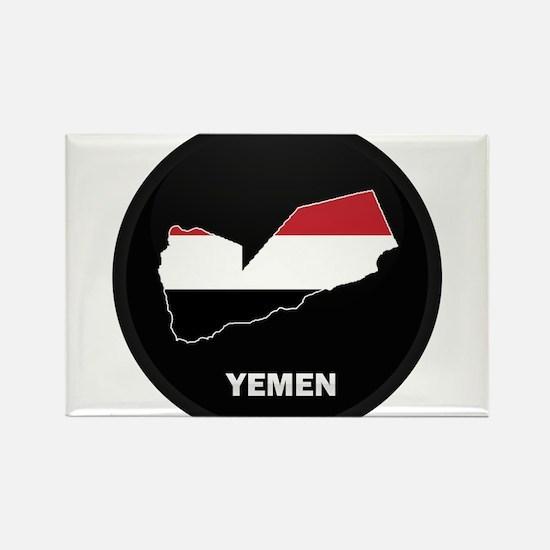 Flag Map of yemen Rectangle Magnet
