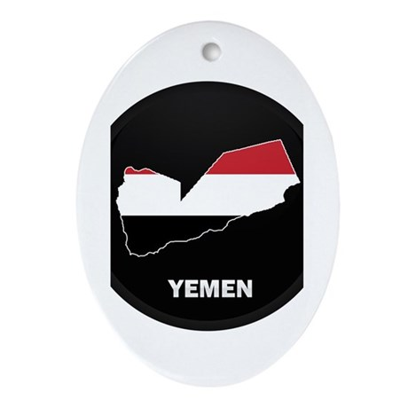 Flag Map of yemen Oval Ornament