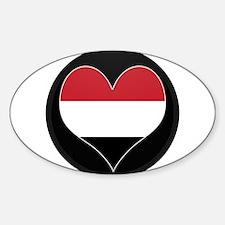I love yemen Flag Oval Decal