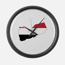 yemen Flag Map Large Wall Clock