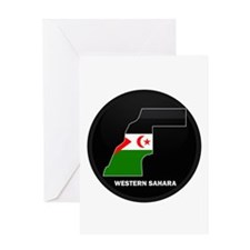 Flag Map of Western Sahara Greeting Card