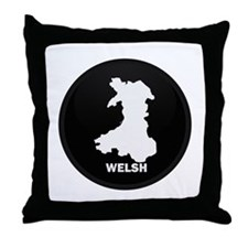 Flag Map of Welsh Island Throw Pillow