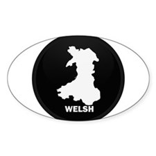 Flag Map of Welsh Island Oval Decal
