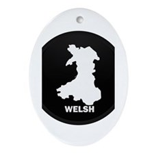 Flag Map of Welsh Island Oval Ornament