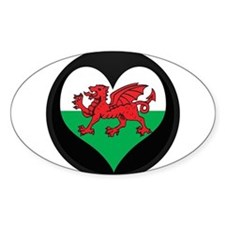 I love Welsh Island Flag Oval Decal