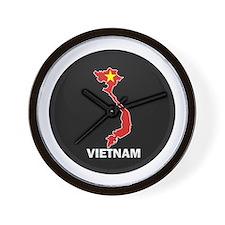Flag Map of Vietnam Wall Clock