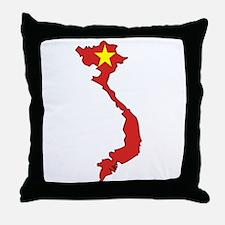 Vietnam Flag Map Throw Pillow