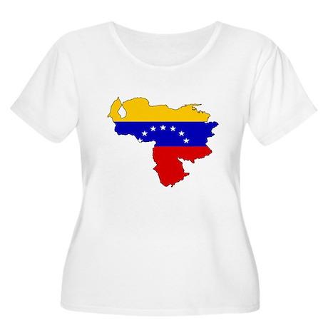 Venezuela Flag Map Women's Plus Size Scoop Neck T-