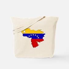 Venezuela Flag Map Tote Bag