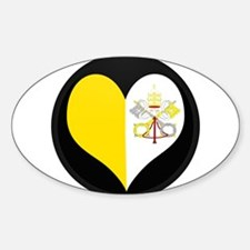 I love Vatican City Flag Oval Decal
