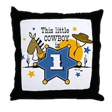 Little Cowboy 1st Birthday Throw Pillow