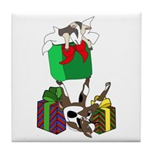 Fainting Goat Christmas Gifts Tile Coaster