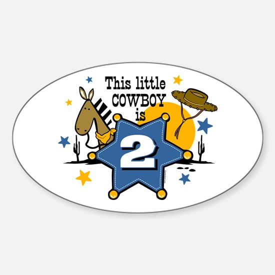 Little Cowboy 2nd Birthday Oval Decal