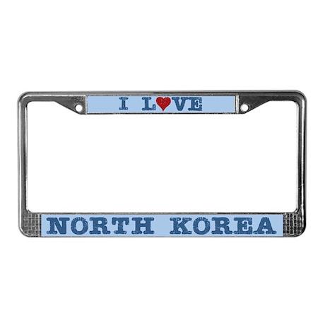 I love North Korea License Plate Frame