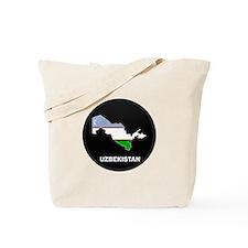 Flag Map of Uzbekistan Tote Bag