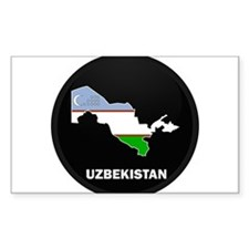 Flag Map of Uzbekistan Rectangle Decal
