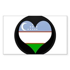 I love Uzbekistan Flag Rectangle Decal