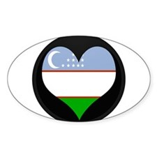 I love Uzbekistan Flag Oval Decal