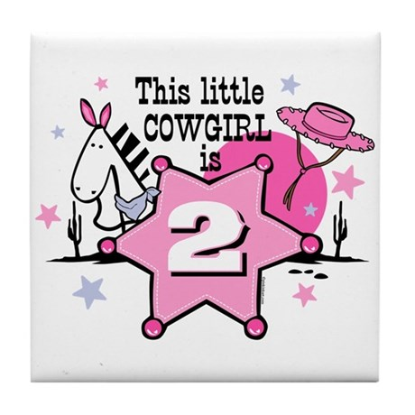 Little Cowgirl 2nd Birthday Tile Coaster