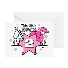 Little Cowgirl 2nd Birthday Greeting Card