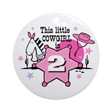 Little Cowgirl 2nd Birthday Ornament (Round)