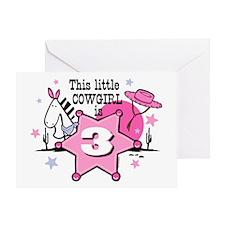 Little Cowgirl 3rd Birthday Greeting Card