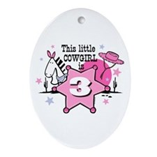 Little Cowgirl 3rd Birthday Oval Ornament