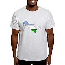 Uzbekistan Flag Map T-Shirt